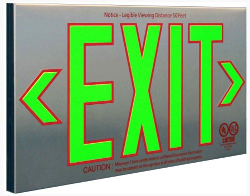 Sure-Lites PHL1GBA Photo luminescent Exit Sign, Brushed Aluminum Housing, Green Letters