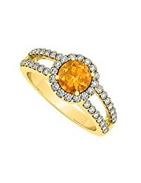 Citrine And CZ Split Shank Halo Engagement Ring In 18K Yellow Gold Plated Vermeil Over Sterling Silver