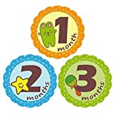 'MuchMore' Baby Monthly Stickers, Bodysuit Stickers ,Onesie Stickers Great Shower Gift Excellent Baby Photo Props #7501