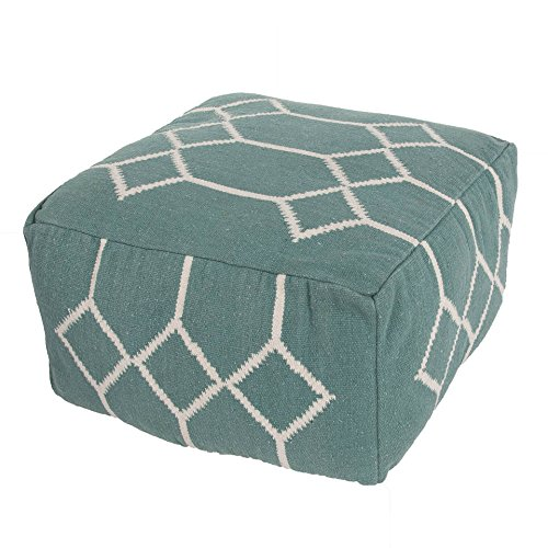 "Jaipurrugs Furniture Decor Ottomans Handmade Cad04 Pouf Cotton Blue/Ivory Pouf Border Color Dark Aqua 24""X24""X13"""