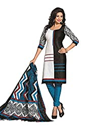 Govardhan Fashion black,white and blue colour cottan Unstitched Dress Material