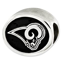 Sterling Silver Enameled St. Louis Rams NFL Bead for Refletion Series