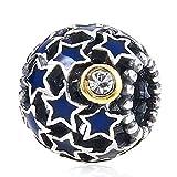 Choruslove Starry Night Charm with Blue Enamel Stars Openwork Bead for Bracelet