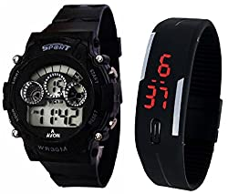 Pappi Boss Sports Watch Collections - Digital Black Dial Sports Watch & Unisex Silicone Black Led Digital Watch for Boys, Girls, Men, Women & Kids