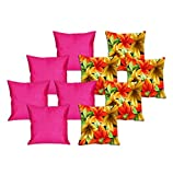 meSleep 5 Pc Flower Digital Cushion Cover and 5 Pc Pink Quilted Cushion Cover
