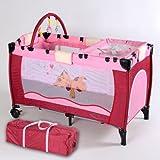 TecTake Cuna infantil de viaje de altura ajustable con acolchado para bebé rosa