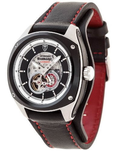 Detomaso Men's Automatic Watch TANAGRO Automatic Silver/Black Aluminium DT2042-A with Leather Strap