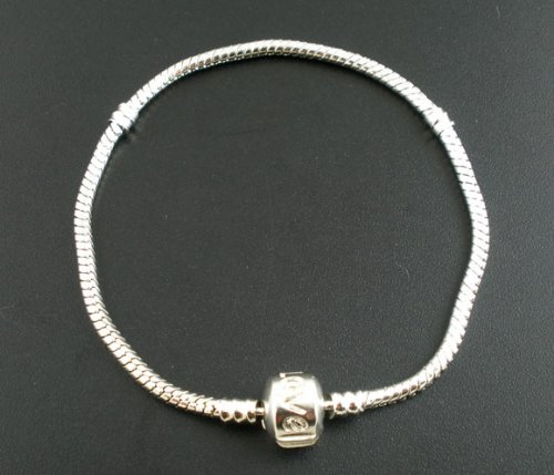 Believe Beads © 22 cm Silver Tone charm Bracelet with Love Clasp for pandora/chamilia/troll type charm beads.