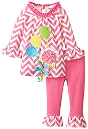Rare Editions Baby Baby Girls\' Chevron Print Legging Set with Cupcake Applique, Pink/White, 18 Months