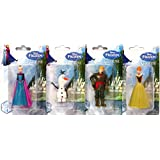 Disney Frozen 4-Piece Miniature Figurine Set for Play Toy Cake Topper Set - Elsa, Anna, Kristoff, and Olaf (4 Individually Packaged Pieces)
