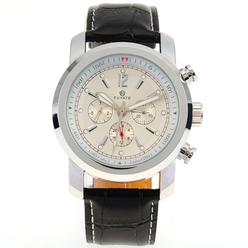AMPM24 Mens Luxury Automatic Mechanical White 6 Hands Leather Sport Wrist Watch Gift