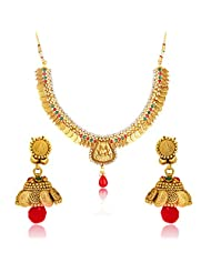 Traditional Ethnic Gold Plated Laxmi's Abode Necklace Set For Women By Donna NL25008G