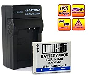 4in1 Chargeur +1x LOOKit Batterie NB6L LI-ION compatible pour Canon PowerShot SX600 HS, Canon PowerShot S200, Canon PowerShot SX700, Canon PowerShot D30, Canon PowerShot SX510 HS, Canon PowerShot SX170 IS, Canon PowerShot SX280 HS, Canon PowerShot SX270 HS, Canon PowerShot S120, Canon Ixus 300, Canon Ixus 310