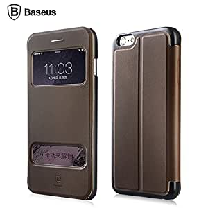 """iphone 6 Plus Case , Baseus Business Style ] Intelligent Dual View Window Function Built-in Media Bracket Premium PU Leather , Fiber inside Bumper Cover Compatible with Apple iphone 6 Plus (5.5 inches) Brown + One """"ivencase """" Anti-dust Plug Stopper"""