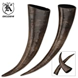 BudK Exclusive Buffalo Black Drinking Horns 10 Inch Set of 2