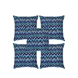 Rajrang Purple, Blue Cotton Zig Zag Ikat Design With Kantha Work Cushion Cover Set Of 5 Pcs #Ccs06693