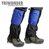 Triwonder 1 Pair Unisex Outdoor Snow Leg Gaiters Leggings Cover Waterproof Snowproof Anti-tear for Hiking Walking Climbing Hunting (Blue&Black)
