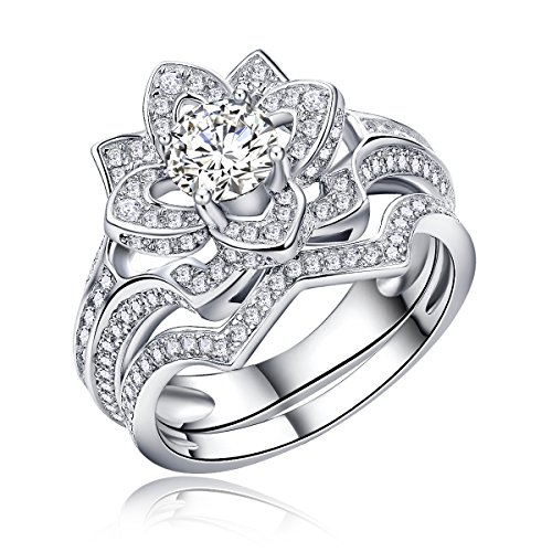 Newshe Flower Round White AAA Cz 925 Sterling Silver Wedding Band Engagement Ring Sets Size 5