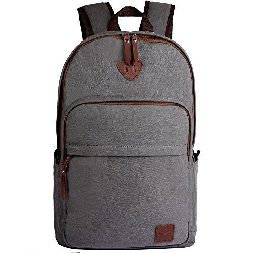 Ibagbar-Canvas-Backpack-Laptop-Bag-Computer-Bag-Rucksack-Daypack-College-Bag-School-Bag-Sports-Bag-Duffel-Bag-Travel-Bag-Hiking-Bag-Camping-Bag-Weekend-Bag-Fits-Most-15-inch-Laptop