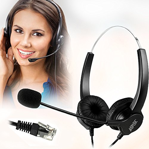 AGPtEK® Hands-free Call Center Noise Cancelling Corded Binaural Headset Headphone with 4-Pin RJ9 Crystal Head and Mic Mircrophone for Desk Phone – Telephone Counseling Services, Insurance, Hospitals, Banks, Telecom Operators, Enterprises