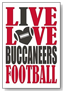 Live Love I Heart Buccaneers Football lined journal - any occasion gift idea for Tampa Bay Buccaneers fans from WriteDrawDesign.com