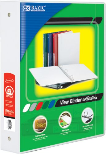 BAZIC 1.5-Inch White 3-Ring View Binder with 2-Pockets wilson jones view tab professional binder with 5 tabs 1 inch capacity letter size black w55763