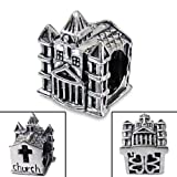 Silvadore - Silver Bead - ''Church'' Cross Christian Holy Faith Building Castle Mini Hearts Love - 925 Sterling Charm 3D Slide On 269 - Fits Pandora European Bracelet - Free Gift Boxed