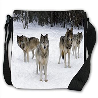 Wolves Small Black Canvas Shoulder Bag / Handbag