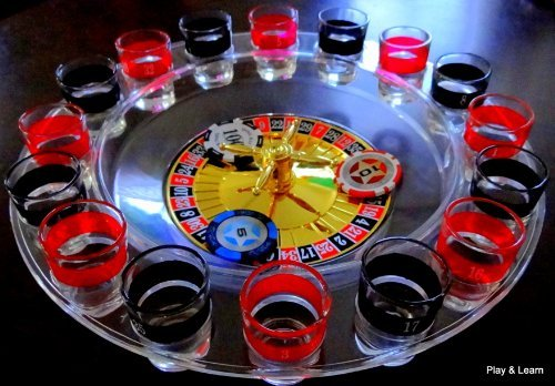 16 Shot Roulette Drinking Game With Two Metal Balls