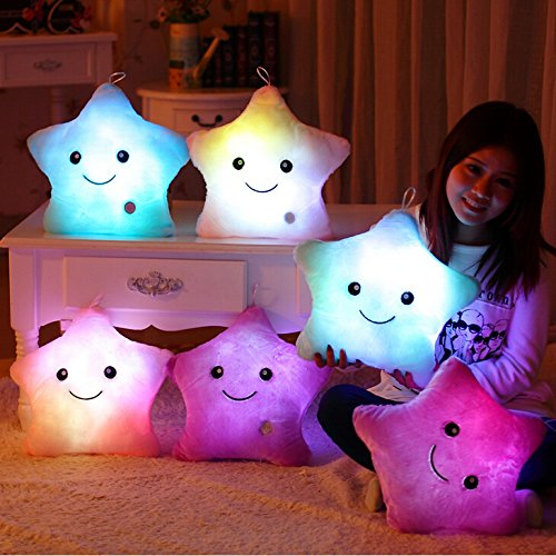 Wewill-Creative-Glowing-LED-Night-Light-Twinkle-Star-Shape-Plush-Pillow-Stuffed-Toys-Blue