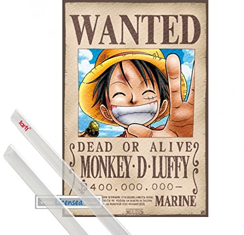 Poster + Sospensione : One Piece Mini Poster (52x35 cm) Wanted Monkey D. Luffy E Coppia Di Barre Porta Poster Trasparente 1art1®