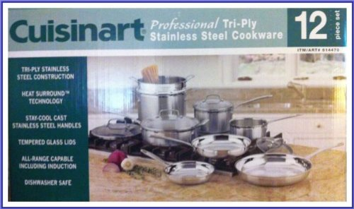 Cuisinart Professional 12 Pc Tri-ply Stainless Steel Cookware Set (Tpcc-12PC)