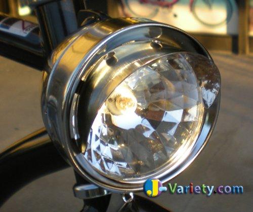 JBikes Dynamo Classic Retro Chrome Bicycle Headlight with Visor for Lowrider Beach Cruiser Comfort BMX Hybrid Bike 1