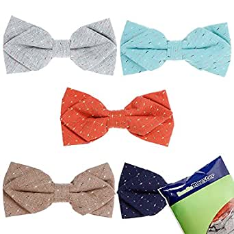 Bundle Monster 5pc Mixed Color Slit Dotted Pattern Adjustable Pre-Tied Mens Batwing Diamond Tip Neck Tie Bowtie - Set 1