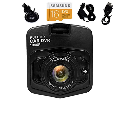 SPEED Full HD 1080P Car Vehicle HD Dash Camera DVR Cam Recorder with 16GB Micro SD Card, 135°View Angle Car Box Tachograph, Motion Detection, Loop Recording, Night Vision (Black)