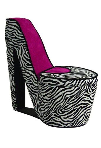 Ore International Ahb4258R High Heel Storage Chair, Pink Zebra front-717764