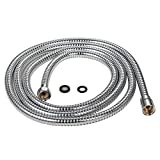 Purelux® 100 Inch Extra Long Double Lock Stainless Steel Replacement Shower Hose with Brass Fittings, Chrome Finish, 5 YEAR WARRANTY