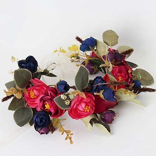 KeyZone Perfect Bride Beautiful Flowers Hair Band Wedding Photo Wreaths Headband Hair Crown Wine red