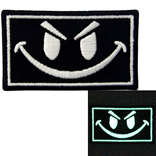 EmbTao Glow In Dark Evil Smiley Smile Face Isaf US Army Milspec Swat Embroidered Iron On Sew On Patch (Cool Customs compare prices)