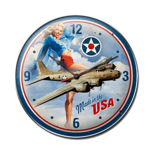 Made in USA Pinup Girls B17 Military Aircraft Plane Clock - Garage Art Signs