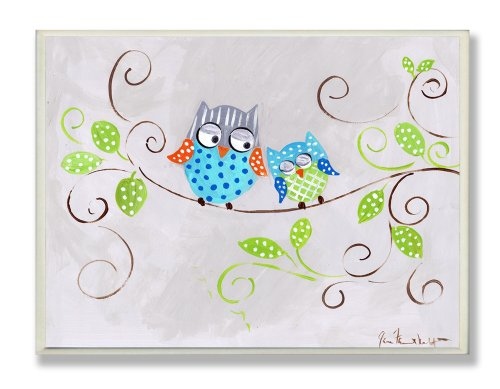 The Kids Room by Stupell Pair of Blue Polka Dot Owls on Swirly Tree Branch Rectangle Wall Plaque