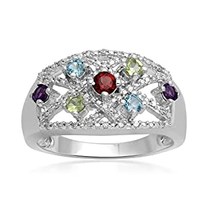 Sterling Silver Multi Gemstone and 1/10ct Diamond Ring, Size 7