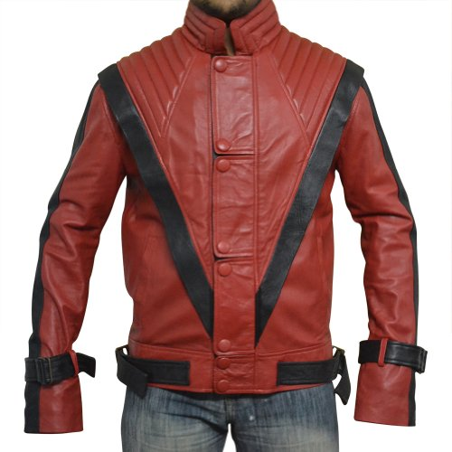 Michael Jackson Thriller Leather Jacket , RED , Faux Leather , XS-3XL