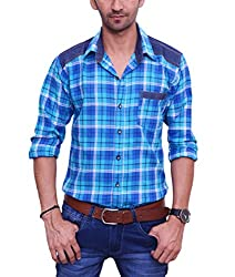 Ballard Men's Casual Shirt (BCS0004_Blue_40)