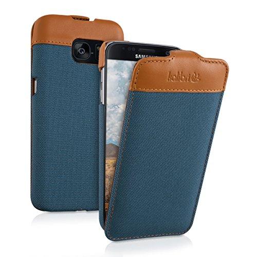 kalibri-Flip-Case-Hlle-Emma-fr-Samsung-Galaxy-S7-Aufklappbare-Stoff-und-Echtleder-Schutzhlle-Tasche-im-Flip-Cover-Style-in-Blau-Braun