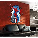 Super Large 3D style Spiderman Wall Decal Home Sticker House Decoration WallPaper Removable Living Dinning Room Bedroom Kitchen Art Picture Murals DIY Stick Girls Boys kids Nursery Baby Playroom Decoration PP-AY8003