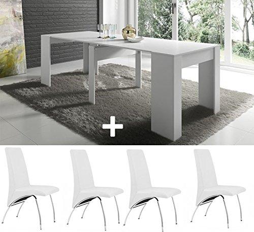 Pack de 4 Sillas + Mesa de COCINA + consola extensible hasta 235 cm, acabado blanco brillo