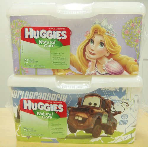 2pack Huggies Wipes Lingettes 72Ct Disney Princess & Cars Design