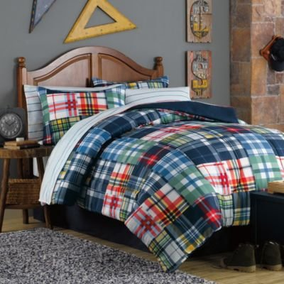 Blue, Green, Red, Orange, White, Yellow Plaid And Stripes Teen Boys Full 8 Piece Bed In A Bag front-881618
