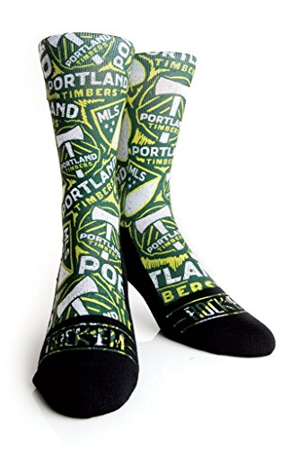 Rock 'Em Apparel MLS Portland Timbers Custom Athletic Crew Socks (Logo Sketch, S/M (6-8.5)) (New York City Football Club Flag compare prices)